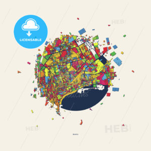Baku Azerbaijan colorful confetti map - HEBSTREITS