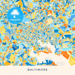 Baltimore colorful map poster template - HEBSTREITS