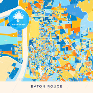 Baton Rouge colorful map poster template - HEBSTREITS