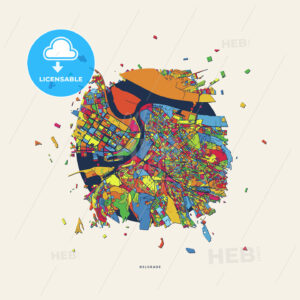 Belgrade Serbia colorful confetti map - HEBSTREITS