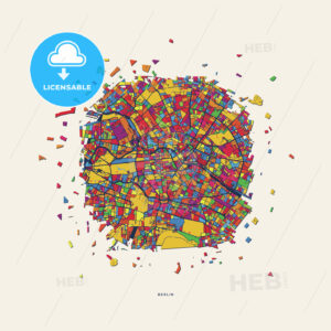 Berlin Germany colorful confetti map - HEBSTREITS
