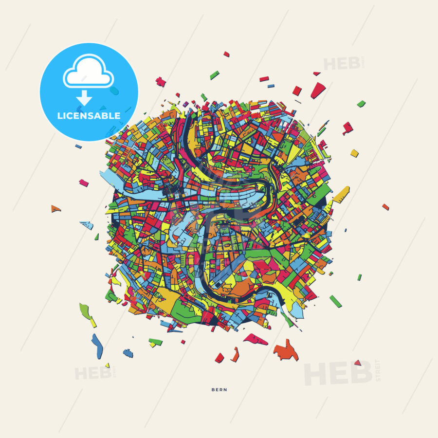 Bern Switzerland colorful confetti map | HEBSTREITS