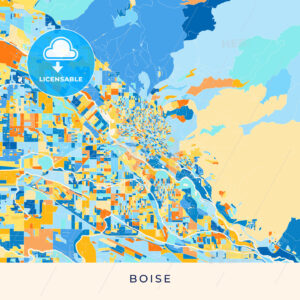 Boise colorful map poster template - HEBSTREITS