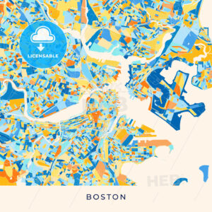 Boston colorful map poster template - HEBSTREITS