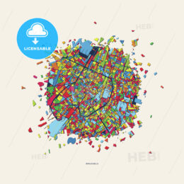Brussels Belgium colorful confetti map