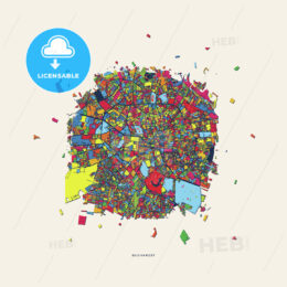 Bucharest Romania colorful confetti map