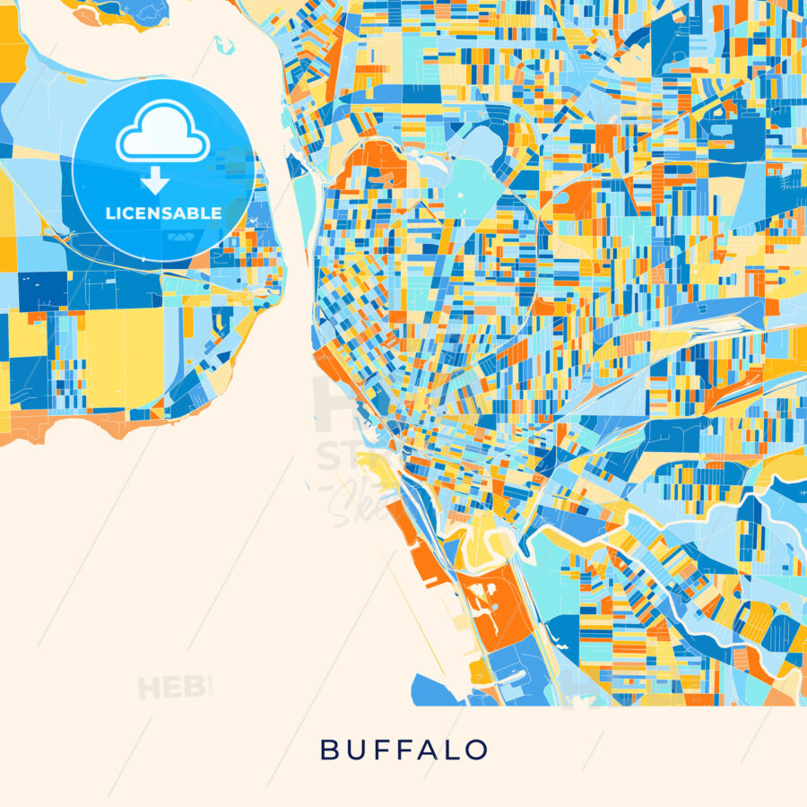Buffalo Colorful Map Poster Template Hebstreits