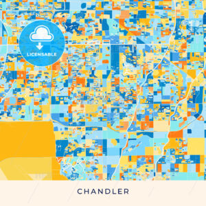 Chandler colorful map poster template - HEBSTREITS