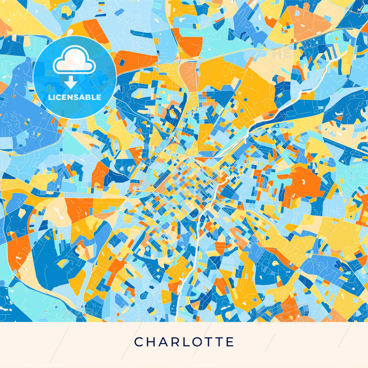 Charlotte colorful map poster template | HEBSTREITS Sketches on