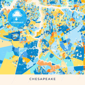 Chesapeake colorful map poster template - HEBSTREITS