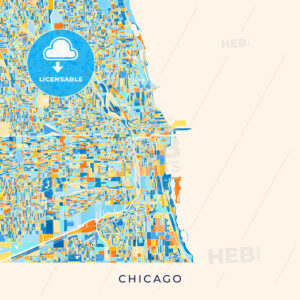 Chicago colorful map poster template - HEBSTREITS