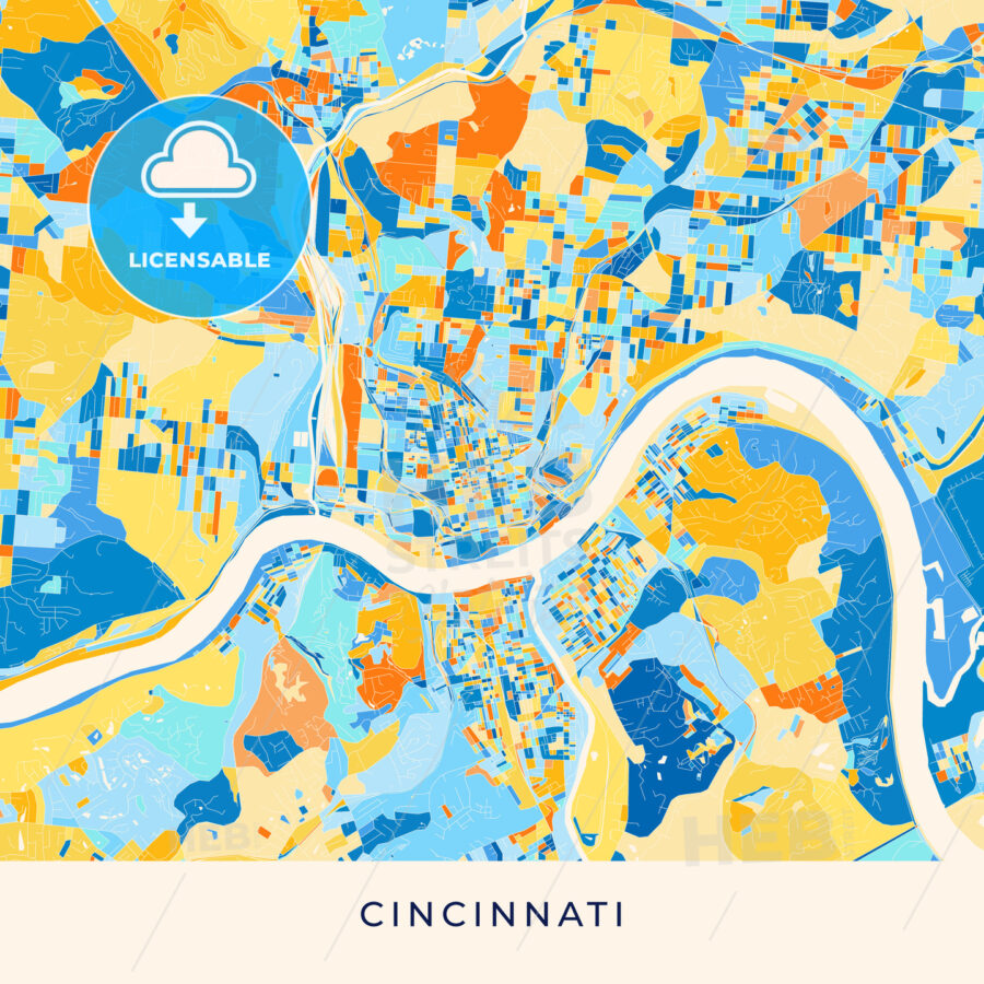 Cincinnati colorful map poster template - HEBSTREITS