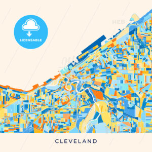 Cleveland colorful map poster template - HEBSTREITS