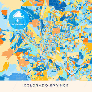 Colorado Springs colorful map poster template - HEBSTREITS