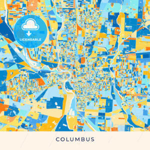 Columbus colorful map poster template - HEBSTREITS