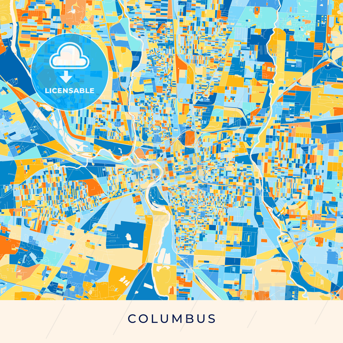 Columbus colorful map poster template | HEBSTREITS Sketches