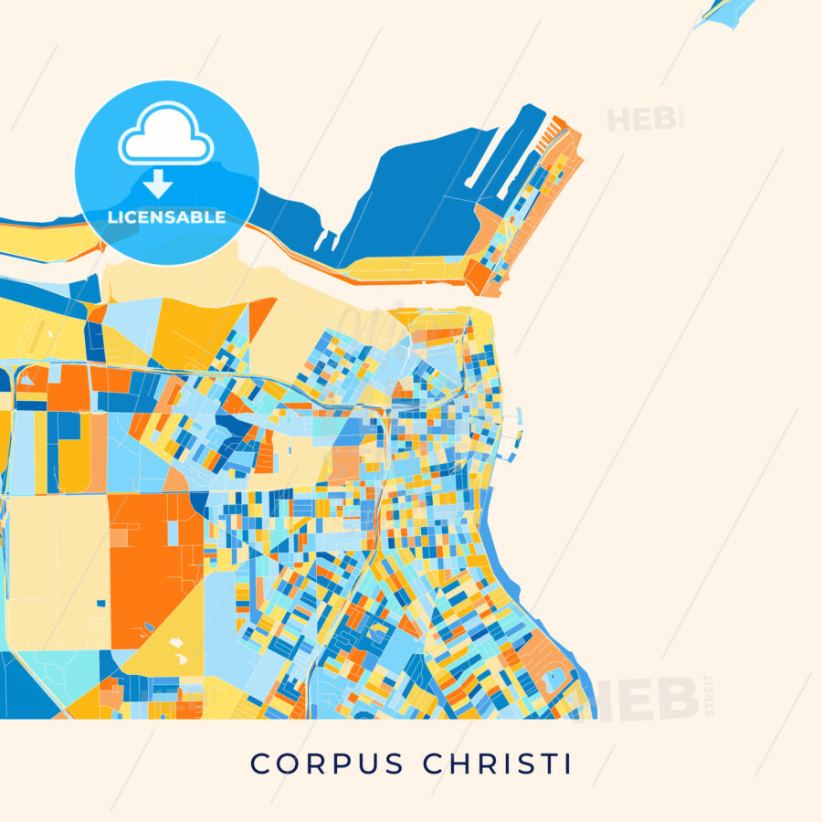 Corpus Christi colorful map poster template - HEBSTREITS