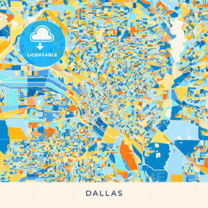 Dallas colorful map poster template - HEBSTREITS