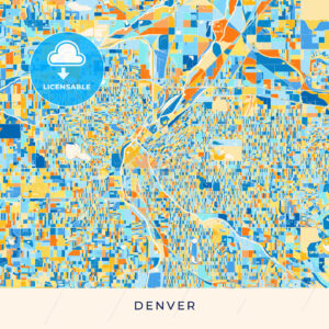 Denver colorful map poster template - HEBSTREITS