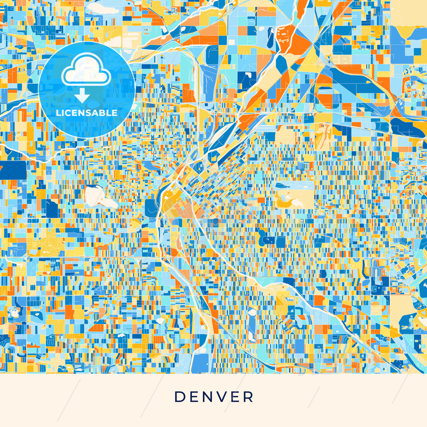 Denver colorful map poster template | HEBSTREITS