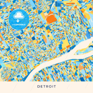 Detroit colorful map poster template - HEBSTREITS