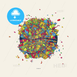 Dublin Ireland colorful confetti map