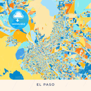 El Paso colorful map poster template - HEBSTREITS