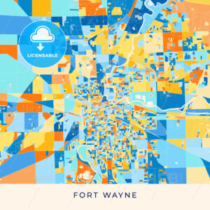 Fort Wayne colorful map poster template - HEBSTREITS