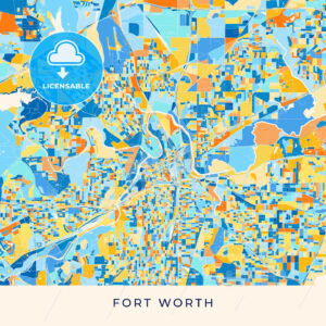 Fort Worth colorful map poster template - HEBSTREITS