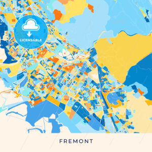 Fremont colorful map poster template - HEBSTREITS