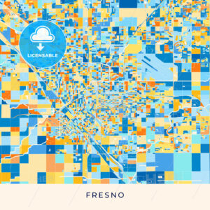 Fresno colorful map poster template - HEBSTREITS