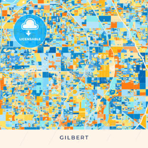 Gilbert colorful map poster template - HEBSTREITS