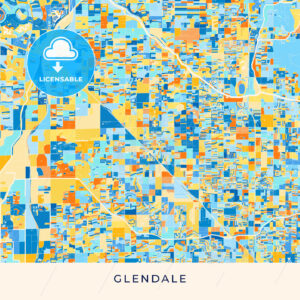 Glendale colorful map poster template - HEBSTREITS