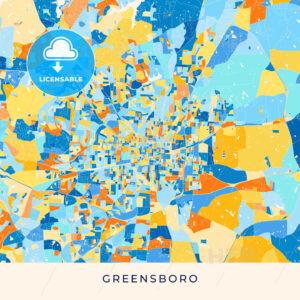 Greensboro colorful map poster template - HEBSTREITS