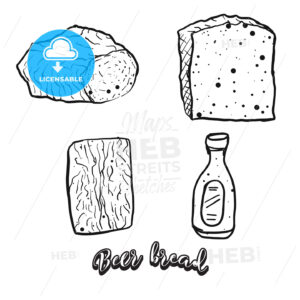 Hand drawn sketch of Beer bread - HEBSTREITS