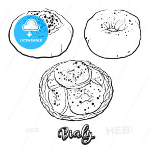 Hand drawn sketch of Bialy bread - HEBSTREITS