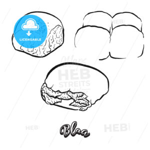 Hand drawn sketch of Blaa bread - HEBSTREITS