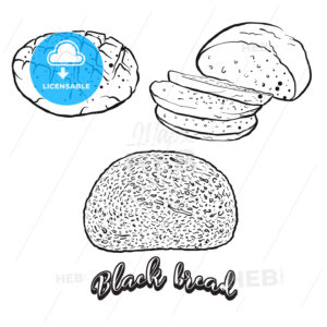 Hand drawn sketch of Black bread bread - HEBSTREITS