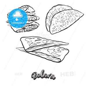 Hand drawn sketch of Bolani bread - HEBSTREITS