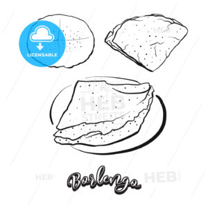Hand drawn sketch of Borlengo bread - HEBSTREITS