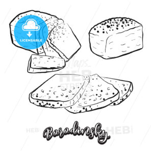 Hand drawn sketch of Borodinsky bread - HEBSTREITS