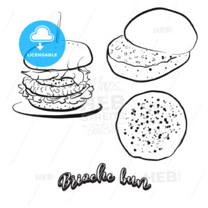 Hand drawn sketch of Brioche bun bread - HEBSTREITS