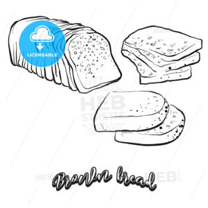 Hand drawn sketch of Brown bread bread - HEBSTREITS