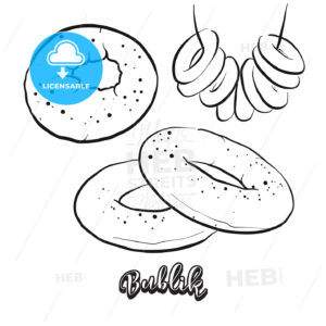 Hand drawn sketch of Bublik bread - HEBSTREITS