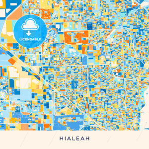 Hialeah colorful map poster template - HEBSTREITS