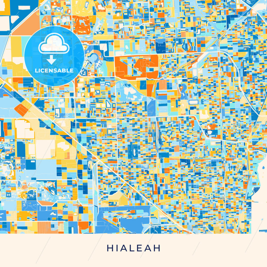 Hialeah Colorful Map Poster Template Hebstreits
