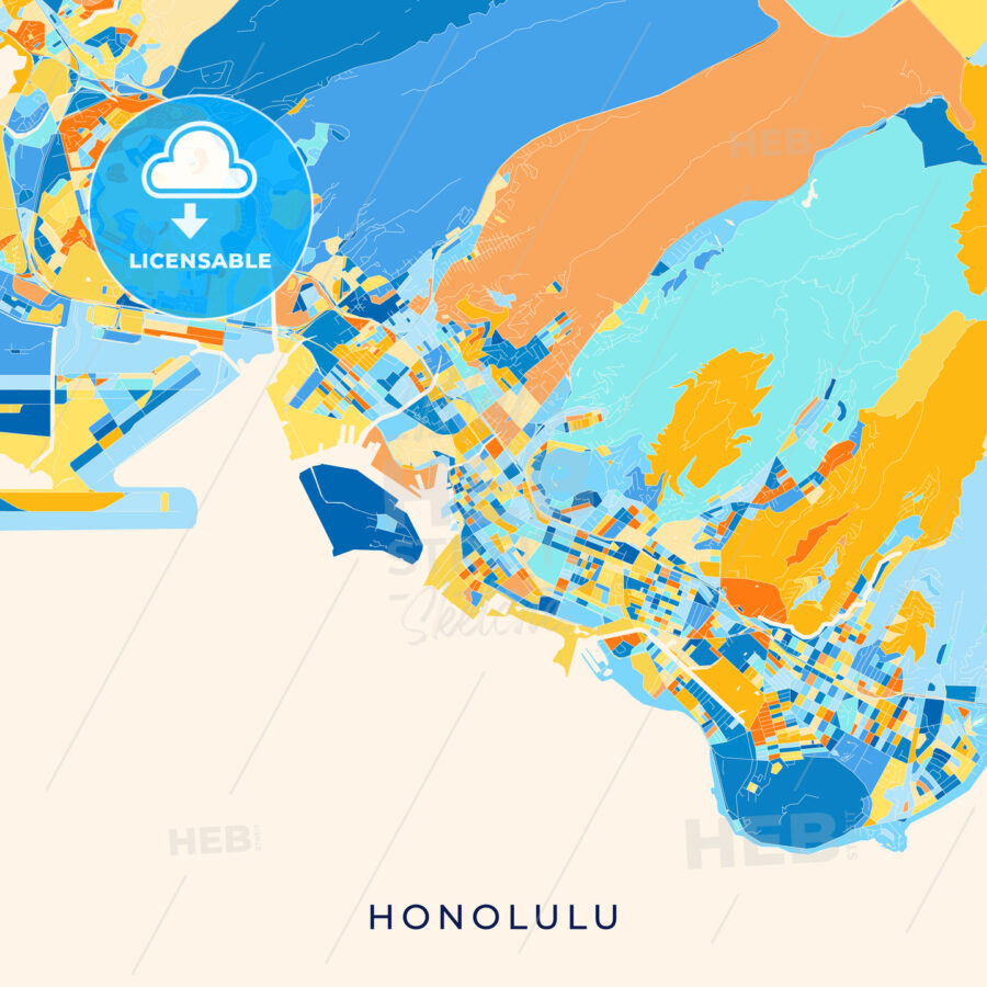 Honolulu colorful map poster template - HEBSTREITS