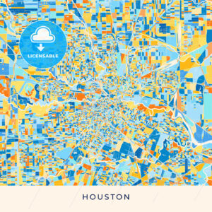 Houston colorful map poster template - HEBSTREITS