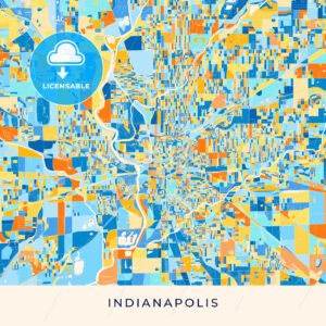 Indianapolis colorful map poster template - HEBSTREITS