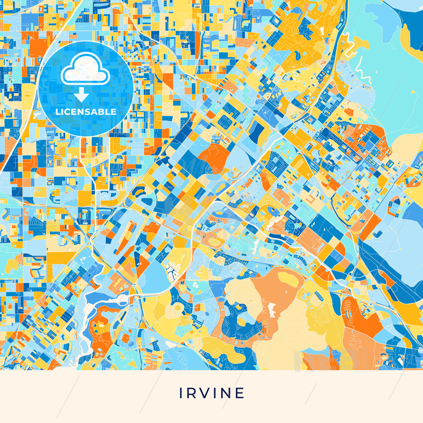 Irvine colorful map poster template